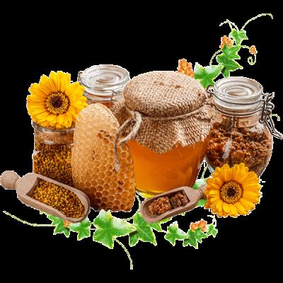 Медовые композиции на основе натуральных продуктов пчеловодства.
